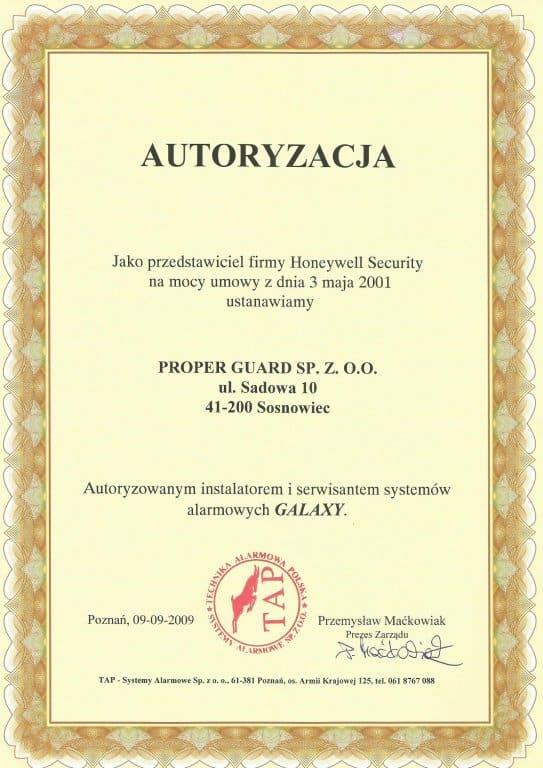 phoca_thumb_l_autoryzacja Galaxy - Proper Guard sp. z o.o. autoryzowanym inst