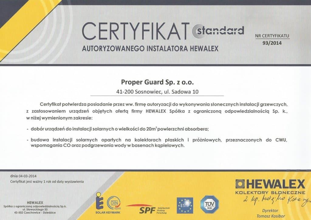 phoca_thumb_l_certyfikat dla Proper Guard Sp. z o.o. autoryzowany instalator
